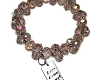 Live Love Laugh pink glass beaded stretch bracelet w/engraved silver charm, charm bracelet, teacher gift, under 20, pink bead bracelet