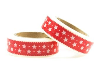 Washi tape red with white stars