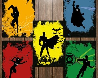 Set of 5 Justice League Abstract Poster