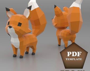 Cartoon Fox Papercraft, Low poly fox, DIY fox, Printable PDF pattern, Papercraft animal, Paper fox, Papercraft low poly, Fox pepakura