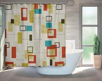 mid century modern shower curtain retro bath retro bathroom modern bath