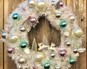 Shabby Chic Christmas Wreath - Pastel Pink Turquoise Bottle Brush Tree - Front Door Swag