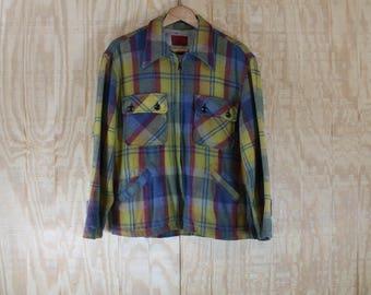Vintage 1970's King's Road Wool Tartan Plaid Coat Jacket  46