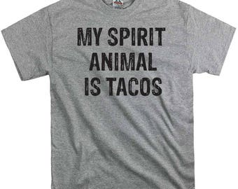 My spirit animal is Tacos t shirt tee shirt gift dad fathers party time hipster funny nerd tend birthday present dad college humor BBQ bacon