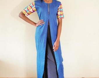 FOLKSHELF African Print Denim Long Top