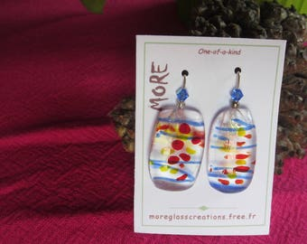 Clear, blue, red and yellow glass earrings