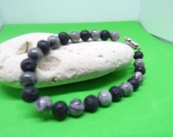 Bracelet lava stone bead and Jasper