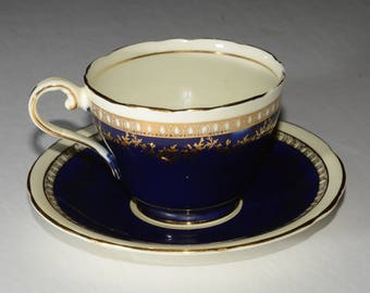 AYNSLEY, Vintage, Cobalt Blue, Aynsley, Teacup and Saucer, Vintage Teacup in Classic Cobalt, Bone China, Gold Rimmed, England