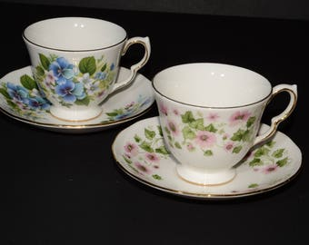 QUEEN ANNE, Bone China, 2 sets, footed, tea cup and saucer, blue flowers, pink flowers, Gold Rimmed, England, Vintage, floral