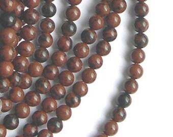 10 beads 6 mm mahogany Obsidian stone
