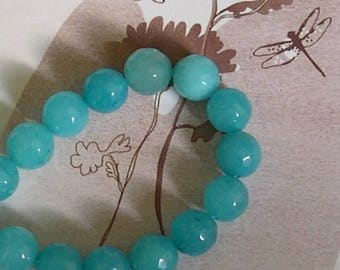10 round 10 mm JADE stone blue faceted beads