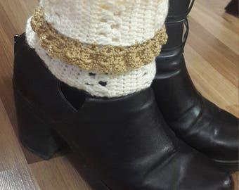 cream boot cuff Crochet Boot Cuff Women's Boot Cuffs, Crochet Leg Warmers, Made to Order