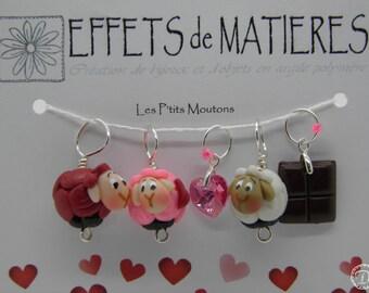 Anneaux marqueurs Les P'tits Moutons - Spéciale St Valentin 2018: coeur rose & choco entier