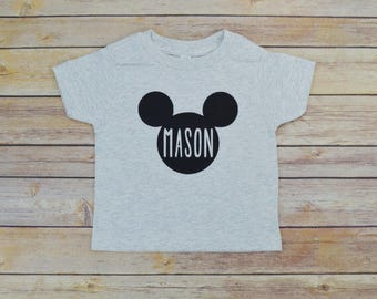 Personalized Mickey Kids Shirt: Toddler Customized Crew Disney, Name Boys or Girls- 22 Colors Available