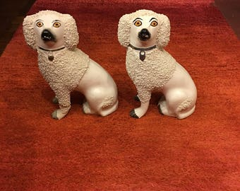 Pair of Antique Staffordshire poodles Late 19th Century. Sanded (siered) coats, head, ears and tip of tail
