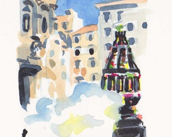 Painting, landscape travel Tuscan, Italian holiday tradition, Italy, florence, florentine, Tuscan tradition, tourism, drawing, Wall Art