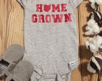 Home Grown, Ohio State Onesie, Ohio State, State Onesie, Football Onesie, Baby Boy Onesie, Baby Girl Onesie, Boy Onesie, Onesie