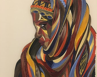 "African Woman Portrait - Quilling Wall Art - Painting with 1/8"" (3mm) paper strips"