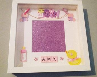 Personalised Scrabble Art Picture frame, Baby girl, Baby Shower gift, Birthday, Christening, New baby, name, Initial, Keepsake