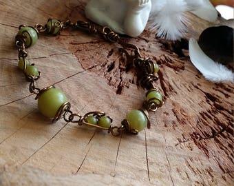 Unique - Bracelet 17cm en jade serpentine (vendu partout comme jade) et en cuivre bronze. Par Angel'S SignS