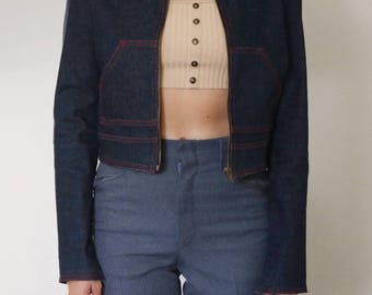 Cropped Raw Denim Jacket