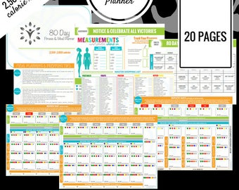 80 Day Fitness Planner | 2,500 - 2,800 Calorie Range | Printable Meal Planner | Meal Prep, Meal Plan, Grocery List & More!