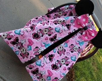 Minnie mouse carseat canopy/minnie carseat cover/ minnie baby tent/pink carseat cover & Cute carseat canopy | Etsy