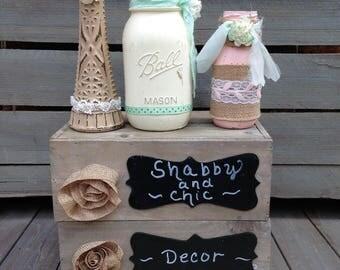 Shabby Chic Painted Mason Jar And Vase Centerpiece
