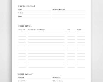 printable order form templates