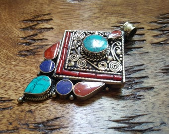 Turquoise with Red Coral and Lapis Lazuli 925 Silver Tibetan Pendant
