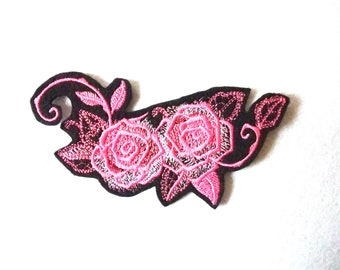 Applied pink fusible patch embroidery patch