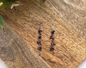 vintage multi color beaded earrings | jewelry