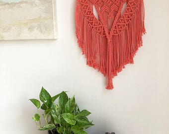 Coral Pink/Orange Macrame Wall Hanging on a Foraged Branch, Woven Wall Hanging, Boho Hippie Tapestry, Bohemian Decor, Statement Piece