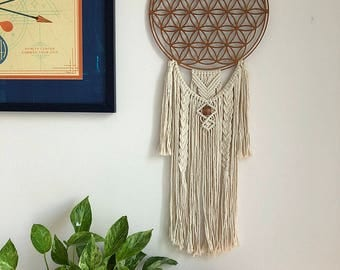 Large Flower of Life Macrame Wall Hanging Dreamcatcher, Medium Woven Wall Hanging, Boho Hippie Tapestry, Dream Catcher, Sacred Geometry