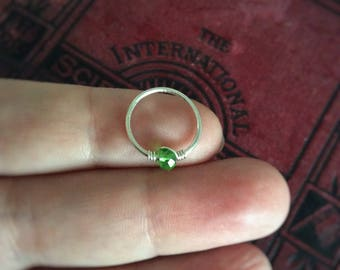 Sterling Silver Hoop / Septum Ring / Green Stone /  Conch hoop / Cartilage / Helix / Lip / Nipple Ring / 14 G 16G 18G 20G 22G