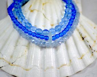 Blue sea glass bracelet / blue stack bracelet / stretch bracelet / authentic sea glass jewelry