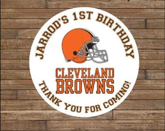 Personalized Football Stickers   Football Team Favor Tags    Football Birthday   Cleveland Browns