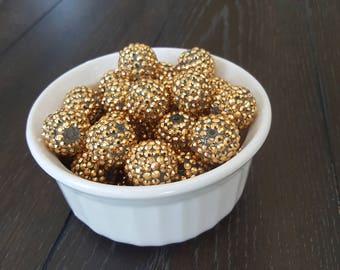Gold Rhinestone 20mm Chunky Bubblegum Gumball Beads