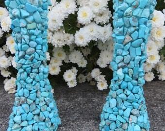 Turquoise Candle Holder Set