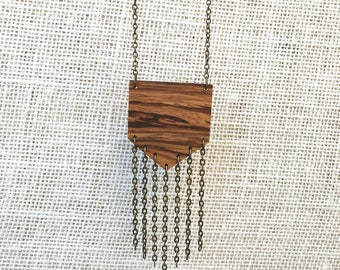 The Shed Zebra Wood Necklace, Natural, Boho, Minimalist Layering Necklace