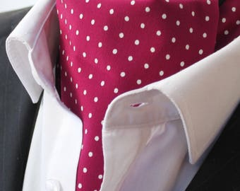 Cravat Ascot 100% Silk Front UK Made. Wine Red Polka Dot Silk + matching hanky.