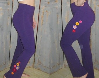 Tall Embellished Yoga Pants, Bohemian, Flare Leg, Gypsy, Embroidered, Decorated, Crocheted Appliques