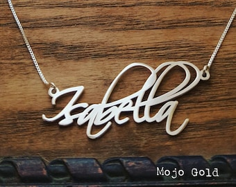 Isabella Style Name Necklace and Chain/Sterling Silver Name Necklace/Isabella/Personalized Jewelry/Custom Made/Name Necklace/Christmas Gift