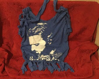 Tote bag made from a repurposed Paul McCartney tee shirt