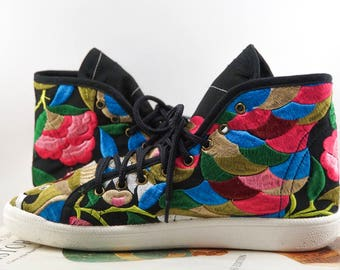 Embroidered Hi-Top Sneakers - Thailand