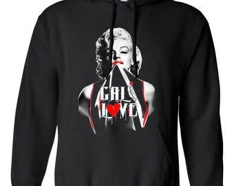 California Love Cali Love Marilyn Monroe Printed Adult Unisex Hoodie Hooded Sweatshirt for Men and Women