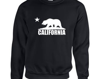 California Bear  Adult Clothing Unisex Sweatshirt Printed Crew Neck Sweater for Women and Men