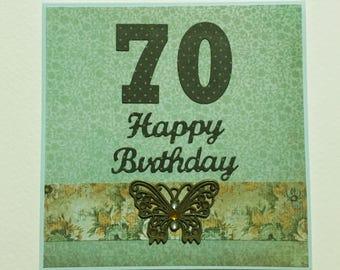 70th BIRTHDAY - Handmade Card