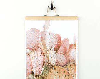 Pink prickly cactus print.