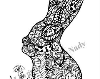 Mandala Lapin à colorier et à imprimer vous-même - mandala - zentangle - anti-stress - lapin - fait main - coloriage - détente - pâques